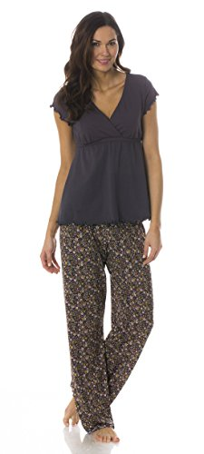 The Genna Maternity & Nursing Pajama Set by Majamas (Medium, Woodland)