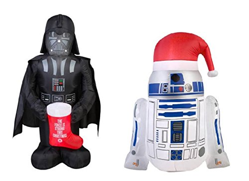 Star Wars Airblown Inflatable Christmas Decorations Lawn Yard Ornaments R2-D2 Darth Vader Blowup 2pc