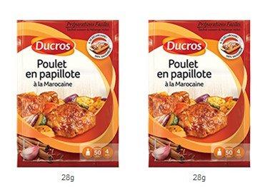 DUCROS - Solutions Cuisson - Preparations Faciles en papillote -Poulet en papillote a la marocaine - 28 g - lot de 2