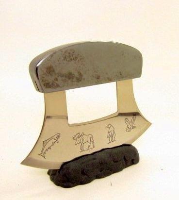 Alaskan Hematite Handle Ulu Knife & Matching Stand