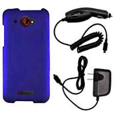 buy Coveron® Htc Droid Dna Hard Rubberized Slim Case Bundle With Black Micro Usb Home Charger & Car Charger - Blue