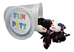 FUN PETS Real Looking Fur Cat Toy Mice (1 pd container ( holds about 20 mice))