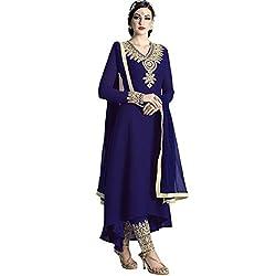 Vasu Saree Georgette Embroidered Blue Churidar Designer Suit
