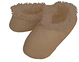 Men\'s Fleece Lined snoozies! (Large, Faux Suede Tan)