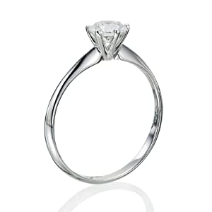 Diamond Engagement Ring in 14K Gold / White - Certified, Round, 0.35 Carat, F Color, SI1 Clarity