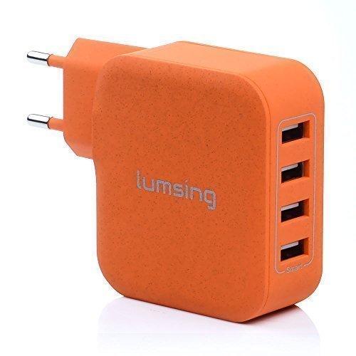 Lumsing® Caricatore Alimentazione 4 Porte USB universale da Parete / Muro per iPhone, Samsung, HTC, Nokia iPad, iPod, Nexus usw Caricabatterie USB - Arancione