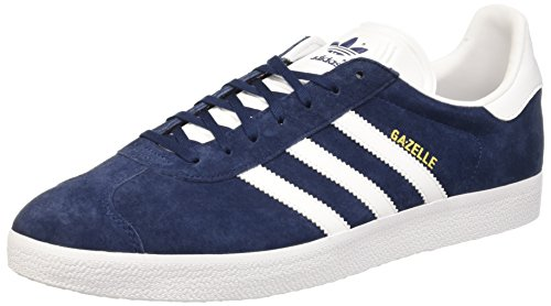 Adidas Gazelle, Scarpe da Ginnastica Basse Unisex - Adulto, Blu (Collegiate Navy/White/Gold Met), 45 1/3 EU