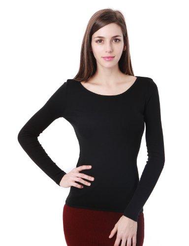 Doublju Womens Stylish Basic Round Neck Long Sleeve T-Shirts BLACK,L