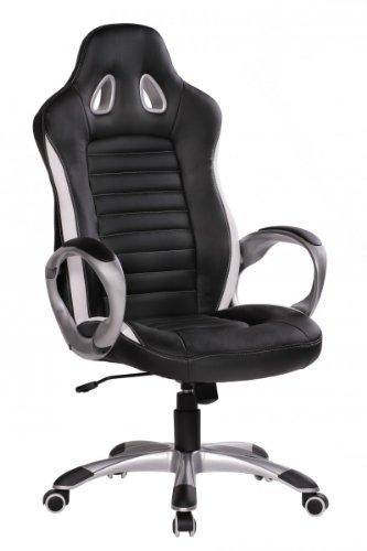 FineBuy-Brostuhl-RACING-Schwarz-Gaming-Chefsessel-mit-Armlehne-gepolstert-Racer-Sport-Sitz-Drehstuhl-Kopfsttze-Race-Schreibtischstuhl-Gamer-Design-Modern-Drehsessel-mit-Wippfunktion-bis-120KG-Leder-Op
