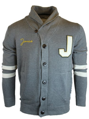 New Mens Md Gry JACK & JONES Jeans Varsity Knit Designer Cardigan Jacket Size XL