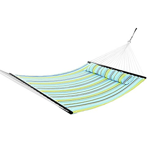 Sportneer Double Hammock Quilted Fabric Double Wide Solid Spreader Bar for Outdoor Patio Yard (Hammock Outdoor compare prices)