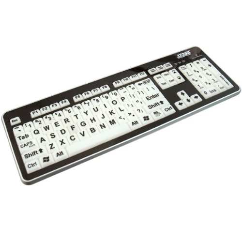 Large Print Led Keyboard-White Keys-Black Type