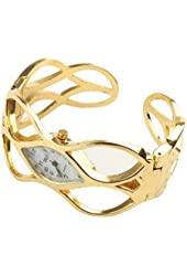 Women's Gold Hinged Cuff Bangle Bracelet Analog Watch White Dial