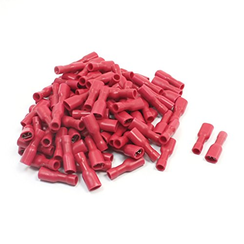 FDFD1-187 Red Female Spade Crimp Insulated Terminals 22-16AWG 100 Pcs
