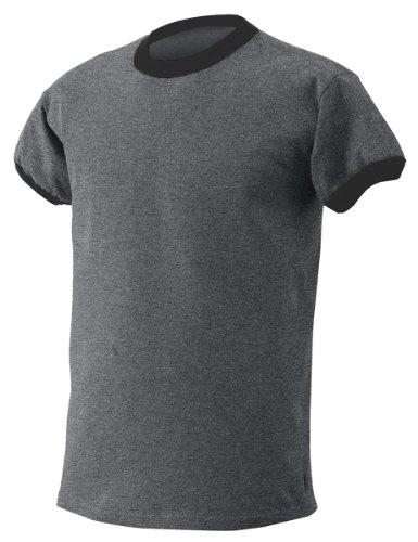 Gildan 6.1 oz. Ultra Cotton Ringer T-Shirt, Heather Black/Black, S