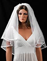 White Bridal Wedding Veil with Satin Edges, Scattered Pearls and Rhinestones - Lesbian Wedding Veil