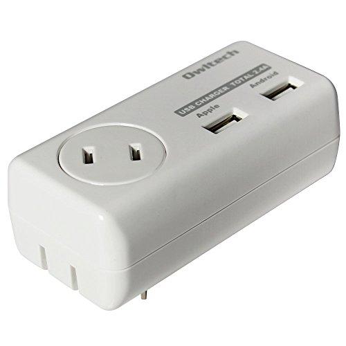 オウルテック 360°回転プラグ採用 AC/USBアダプタ USB2口(合計2.4A出力)+AC1個口(合計1500w) 各種スマートフォン タブレット対応 ホワイト OWL-ACU2A1F24-WH