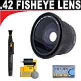 .42x HD Super Wide Angle Panoramic Macro Fisheye Lens + Lenspen + 5 Pc Cleaning Kit + Smart Shop UK Micro Fiber Cloth For The Panasonic Lumix DMC-G1, DMC-L10 Digital SLR Cameras Which Have A (14-45mm, 45-200mm) Lens