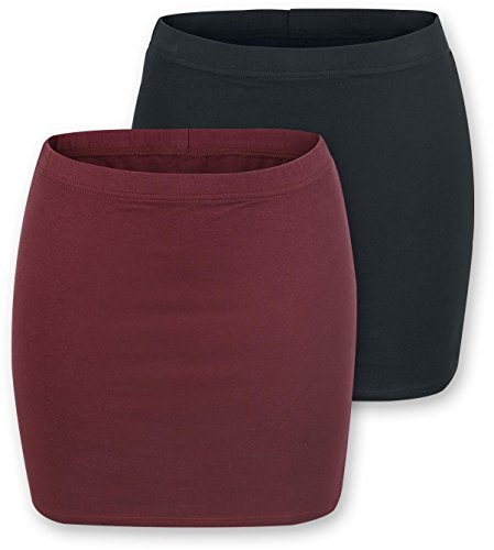 R.E.D. by EMP Ladies Skirts - Double Pack Gonna nero/bordeaux M