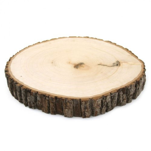 Koyal Wholesale Reversible Wood Slab Thick Tree Slice With Bark Floral Centerpiece, 11 To 12-Inch