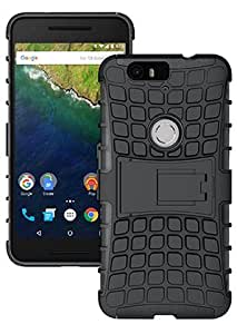 BeeFone Tough Hybrid Armor Back Cover Case with Kickstand for Huawei Nexus6p-Black