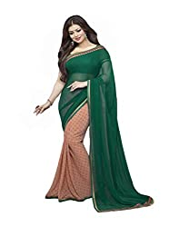 VinayTM Elegant Traditional Designer Georgette Lace Work Printed Green Peach Saree With Blouse Material