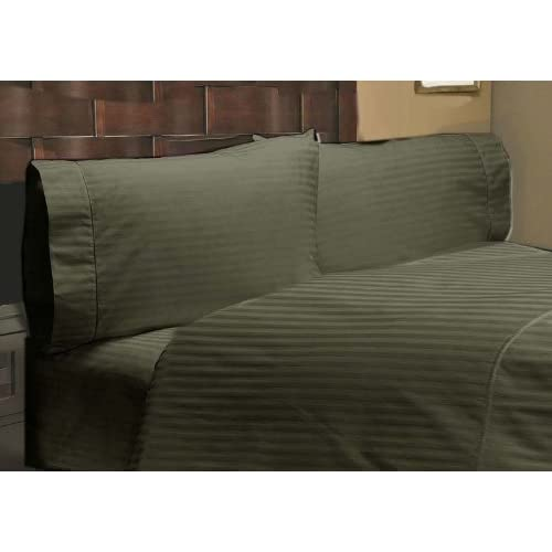 500 Thread Count 100% Egyptian Cotton Stripe Moss Expanded Queen 16