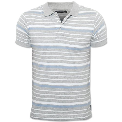 French Connection Mens Grey 562D3 Striped Button Collar Polo Shirt T-Shirt Grey Medium