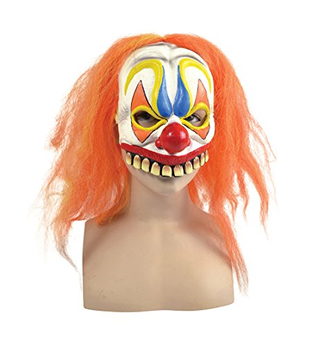 Orange Hair Scary Clown Half Mask Halloween Fancy Dress Party Costume