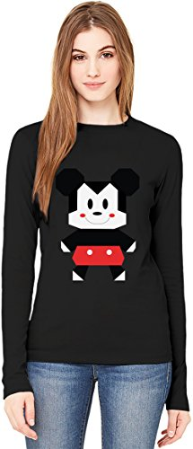 Origami Mickey Mouse T-Shirt da Donna a Maniche Lunghe Long-Sleeve T-shirt For Women| 100% Premium Cotton Ultimate Comfort XX-Large