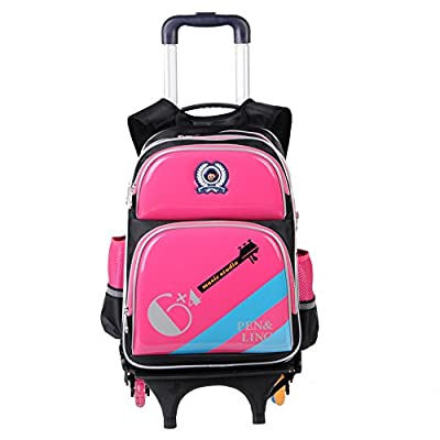 Cute Lovely Boys Girls Waterproof Nylon School Backpack Kids Travelling Bags Hiking Shoulder Bags Suitcases With Removable 3 Pulleys Wheeled Trolley Hand For Pupils Primary Students