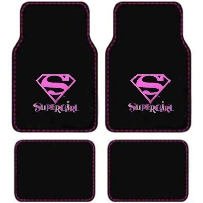 Supergirl Dc Comics Logo Front & Rear Seat Car Truck Suv Carpet Floor Mats - 4Pc front-266135