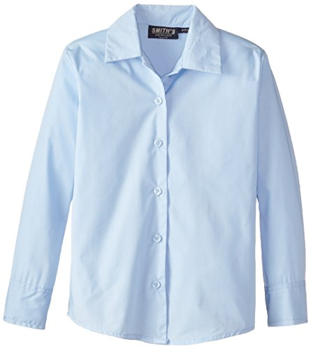 Smith's American Big Girls' Long Sleeve Pointed Collar Blouse, Light Blue, 8