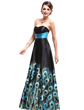 Ever Pretty Animal Printed Strapless Rhinestones Satin Ruffles Prom Dress 09622, HE09622BL06, Multiple(blue), 4US