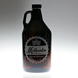 Personalized Beer Growler Engraved with Bottlecap Themed Art | Custom Home Brewing Gift