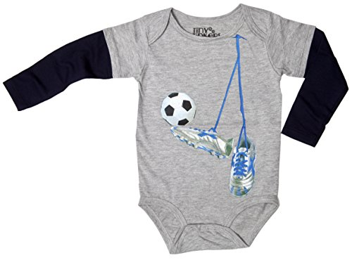 Tinytinkers Baby Boys' Soccer Long Sleeve Layered Onesie 12 Months Grey/Navy front-10540