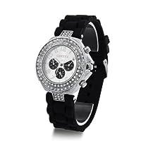 Geneva Silicone Crystal Quartz Ladies Women Jelly Wrist Watch Versicolor Black