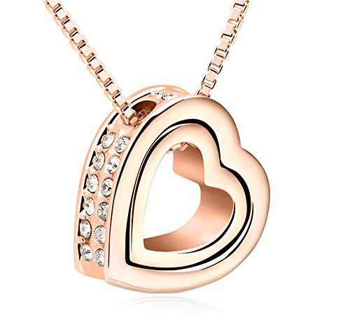 Ufingo Jewelry Collana Eternal Love doppio pendente del cuore, Placcato Oro Champagne, made with Cristallo Austriaco, catena Lunghezza 40 centimetri + 5 centimetri catena estesa