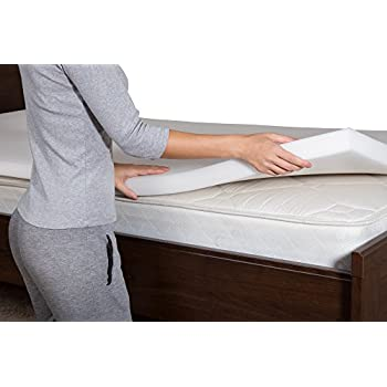PharMeDoc Memory Foam Mattress Topper - 2 Inch Thick & Soft Bed Comfort Pad - 42 Density - Improved Sleep by Relieving Joint & Back Pain - Pressure Reducing - White (Twin XL)
