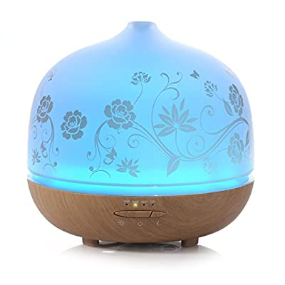500ml Glass Aromatherapy Essential Oil Diffuser, ISELECTOR Ultrasonic Cool Mist Air Humidifier with 7 Changing LED Colors, Waterless Auto Shut-off