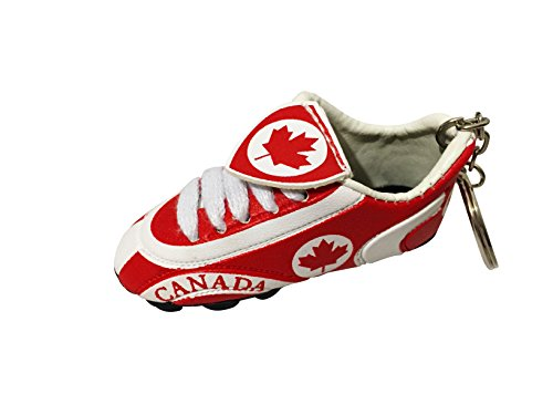 Football Soccer Futbol Mini Shoe KeyChains KeyRings - Americas (Country: Canada) (Canada Flag Ball compare prices)
