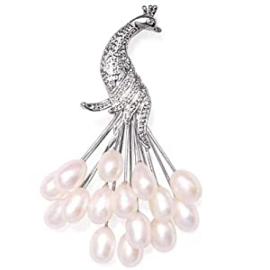 Bling Jewelry Clustered White Freshwater Pearl Peacock Brooch