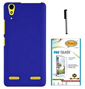Tidel Stylish Rubberized Plastic Back Cover For Lenovo A6000 ( Blue ) With 2.5D Tempered Glass & Stylus
