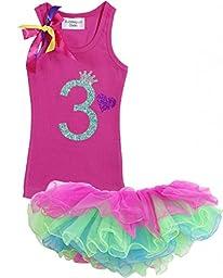 Baby Girls 3rd Birthday Tutu Tank Top Shirt Set By Bubblegum Divas