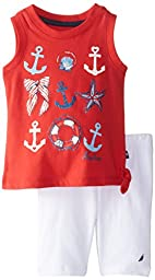 Nautica Baby Girls\' Anchor and Bow Graphic Tank and Knit Short Set, Red, 18 Months