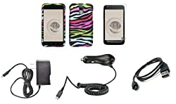 Samsung Galaxy S II Skyrocket (AT&amp;T) Premium Combo Pack - Rainbow Zebra Stripes Design Rubberized Shield Hard Case Cover + Atom LED Keychain Light + Screen Protector + Wall Charger + Car Charger + Micro USB Cable