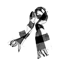 Mens Fashion Plaids Pattern Design Neckwear Scarf Black White
