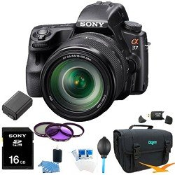 Sony Alpha SLT-A37M 16.1 MP Exmor APS HD CMOS Sensor DSLR with Translucent Mirror Technology and 18-135mm Lens (Black) ULTIMATE BUNDLE with 16GB High Speed Card, Deluxe Filter Kit, Spare Battery, Padded Case+ More