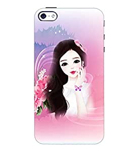 PrintDhaba Cute Girl D-4175 Back Case Cover for APPLE IPHONE 4S (Multi-Coloured)