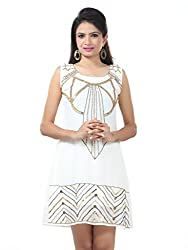 Sakhee Women's Cocktail Tunic Dress (1009_Ivory_Large)